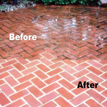 Bricks before and after power washing.