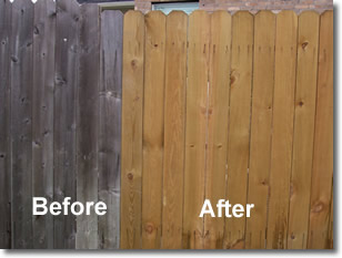 Wood fence before and after power washing.